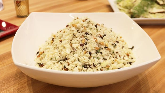"""Read more about the article Herbed Cauliflower """"Couscous"""" With Lemon And Currants"""